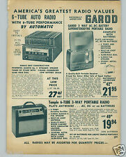 1948 PAPER AD Garod 3 Way ac dc Portable Radio Temple 6 Tube Imperial Phonograph