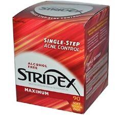 Stridex,Single-Step Acné Contrôle,Maximum avec Salicylique Acide,90 Coussinets