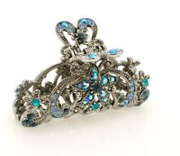 Metal Hair Clip Colored Diamante Rhinestone Blue Antique Silver Hair Claw Clip