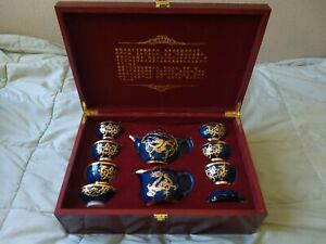 Gold-Inlaid Jade Hand-crafted Tea SET - FEIWUZHIWENHUAYICHAN Cultural Heritage