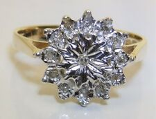 9CT 9 CARAT YELLOW  GOLD DIAMOND SNOW FLAKE  FLOWER CLUSTER ENGAGEMENT RING