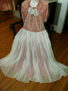 Hand Beaded Silk Dance Party Dress w/Beaded Cape & Snood Hat 1920-30s Antique