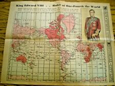 SCARCE 1936 NEWSPAPER MAP ~ KING EDWARD VIII - RULER OF ONE-FOURTH THE WORLD