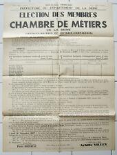 Affiche ancienne ELECTION DES MEMBRES CHAMBRE DE METIERS 1937 vintage old poster