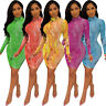 Sexy Womens Print Long Sleeve Bodycon Mesh Party Clubwear Evening Cocktail Dress