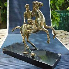 Joueur Polo Cheval Bronze Doré Socle Bois Laqué à Rest 29 x 25 x 10 Cm 1,850 Kgs