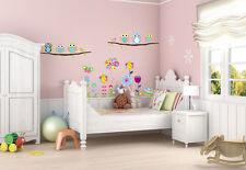 Colourful Flowers Butterflies owls Children's Wall Art Decals Stickers Nursery