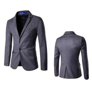 Men's Long sleeve One Button Blazer Jacket Slim Fit Outwear Leisure Occident D