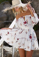 Womens Off Shoulder Beach Mini Dress Ladies Floral Holiday Party Sundress Sexy