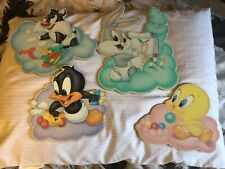 VINTAGE BABY LOONEY TUNES WALL DECOR WARNER BROS. 4 PCS 1998  NURSERY