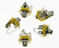 """Pack of 5 Stereo Electric Guitar Jacks 1/4"""" 6.35mm Stereo Jack Sockets Chrome"""