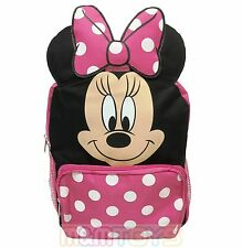 "Disney Minnie Mouse Face/Ears 12"" Small Backpack Book Bag for Kids"