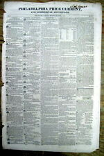 1829 Philadelphia Price Current newspaper like WALL STREET JOURNAL 190 years ago