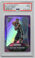 2015-16 Panini Prizm Myles Turner Purple Prizm Rookie RC #340 PSA 9 Mint /99