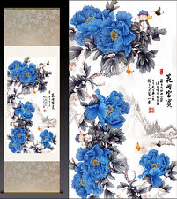 Chinese Silk Scroll Painting Peony & Butterfly Home Office Decoration (花开富贵)