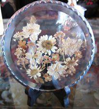Pressed Flowers In Glass With Stand