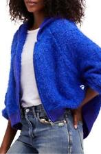 $148 nwt FREE PEOPLE sz XS FURRY TIME ZIP UP hoodie jacket in BLUE