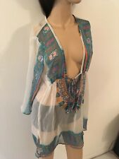 Ladies Sheer Mid thigh coverall One size Lovely turquoise print Slip over & tie