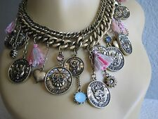BETSEY JOHNSON CAMEO CRITTERS DOG CAT COIN TASSEL STATEMENT NECKLACE~NWT