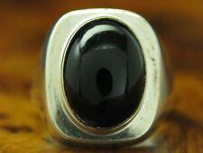 835 SILBER RING MIT ONYX BESATZ / ECHTSILBER / RG 54 / 11,6g