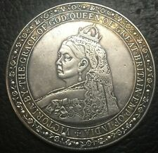 Queen Victoria Crowned Old Bust 1887 / Royal Arms With Supporters Crown