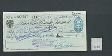 wbc. - CHEQUE - CH1175- USED -1955/56 - BARCLAYS BANK, NEW BARNET