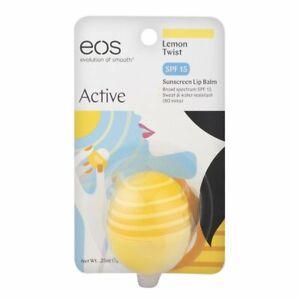 EOS Lip Balm SPF 25 Sunscreen Water Resistant Active Lemon Twist 0.25oz, 1 Pack