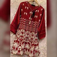 Sufia Fashions®  SILK WOMEN FASHION INDIAN EMBROIDERY KURTI KURTA TUNIC TOP
