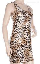 SHINY Leopard Animal Print Sexy Club Sleeveless Tank Scoop Neck Mini Dress S M L