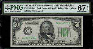 1934 $50 Federal Reserve Note Philadelphia - FR.2102-C - Graded PMG 67 EPQ