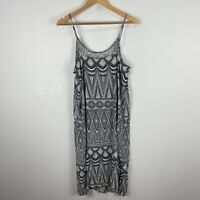 H&M Womens Dress 12 Grey White Boho Sleeveless Scoop Neck