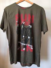 "Urban Spirit Brown Hip Hop Slogan Size L 42"" Cotton T-Shirt <T11656"