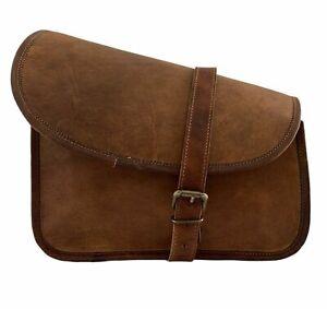 Handmade Genuine Goat Leather Motorcycle Saddlebag Brown Luggage Tool Side Bag