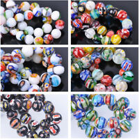 10pcs 10~14mm Round Millefiori Glass Loose Spacer Beads DIY Jewelry Findings