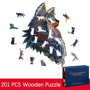 Wooden Puzzle Unique Shape Pieces Animal Gift for Adults and Kids 201 Pieces ART