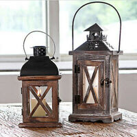 Vintage Wooden Tealight Candle Holder Lantern Wedding Desk Hanging Decor #2