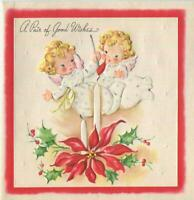 VINTAGE CHRISTMAS BLONDE ANGEL CHERUB GIRL CANDLE FLAME POINSETTIA GREETING CARD