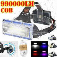 990000LM LED COB Headlamp Headlight Fishing Torch Flashlight USB Rechargeable UK