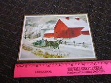Brick Mill Studio Chrstimas Card Red Barn Horse Drawn Sleigh Unused New