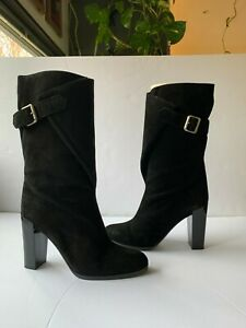 Gianna Meliani black suede knee high boots with heel and brass buckle. size 38