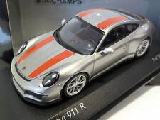 1:43 Minichamps Porsche 911-R (991) 2016 Silver w/ Red Stripes 410066222 504 pcs