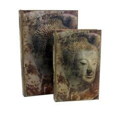 Buddha Design Leather Book Box Stash Hollow Storage Hidden Secret Box