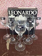 "6 LEONARDO GLASS ELIZA PATTERN TALL SHERRY / PORT GLASSES - BOXED - 6"" HIGH"