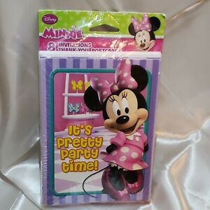 Disney Minnie Mouse 8 Birthday Invitation and 8 Thank You Postcards