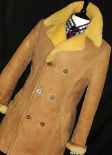 MENS DUNHILL SHEARLING SHEEPSKIN 100% LEATHER PEACOAT OVERCOAT JACKET COAT 40R