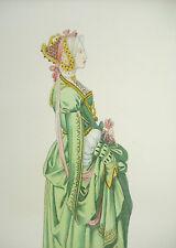 Gravure c1874 Flandre Damoiselle costume historique sculpteur : Didier