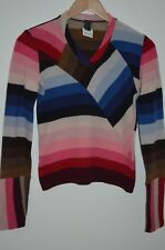 E-Play Designs Multi Color Striped 80% Wool V-Neck Sweater Size S Made in Italy