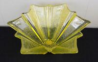 "Unmarked art glass bowl or vase Scandinavian? yellow textured 13"" geometric"