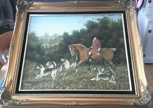 Framed Oil on Canvas , Hunting painting.