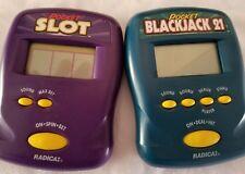 2 handheld Radica games Pocket Slot, Blackjack 21 poker tested working